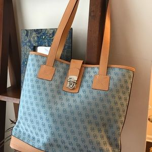 Authentic Dooney & Bourke Blue and Tan tote NEW